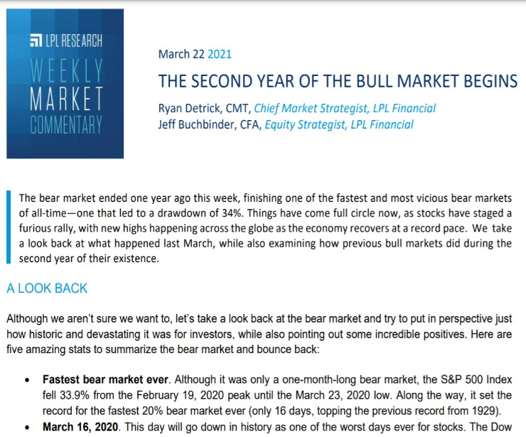 Second Year Of The Bull Market Begins | Weekly Market Commentary | March 22, 2021