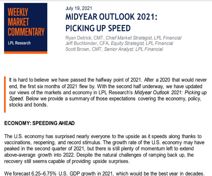 Midyear Outlook 2021: Picking Up Speed   Weekly Market Commentary   July 19, 2021
