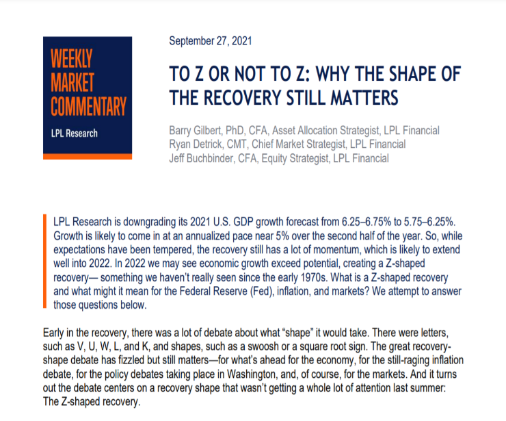To Z Or Not To Z   Weekly Market Commentary   September 27, 2021