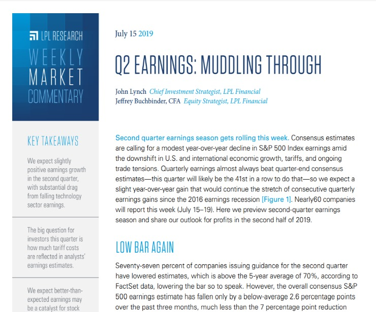 Q2 Earnings: Muddling Through | Weekly Market Commentary | July 15, 2019