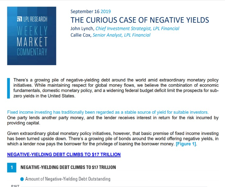 The Curious Case of Negative Yields | Weekly Market Commentary | September 16, 2019